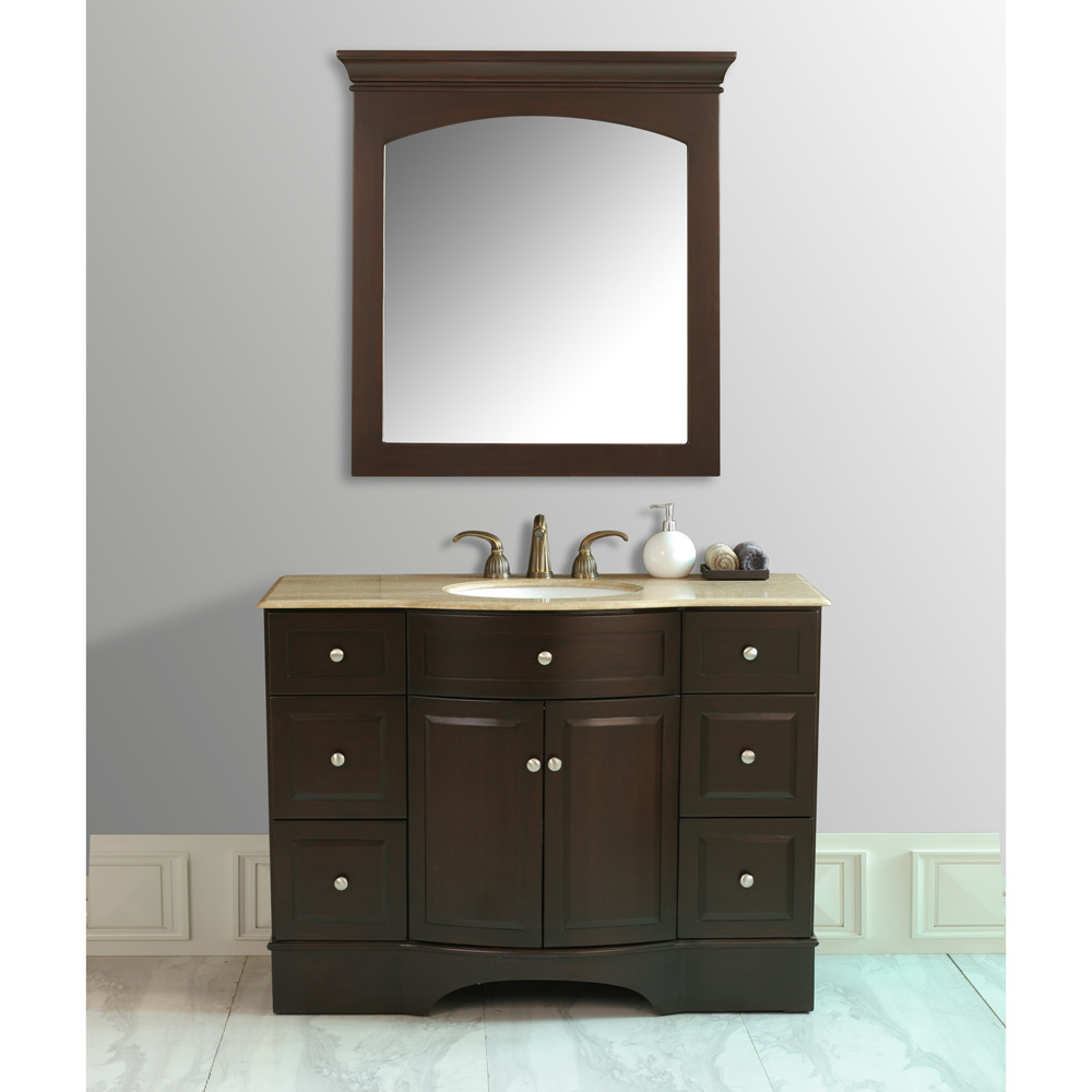 Stufurhome 48 Lotus Single Sink Vanity With Travertine Marble Top And Mirror Dark Brown