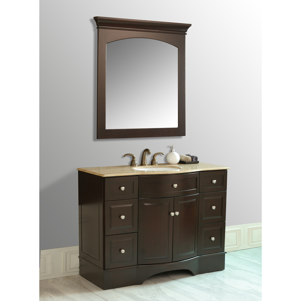 Stufurhome 48 Quot Lotus Single Sink Vanity With Travertine