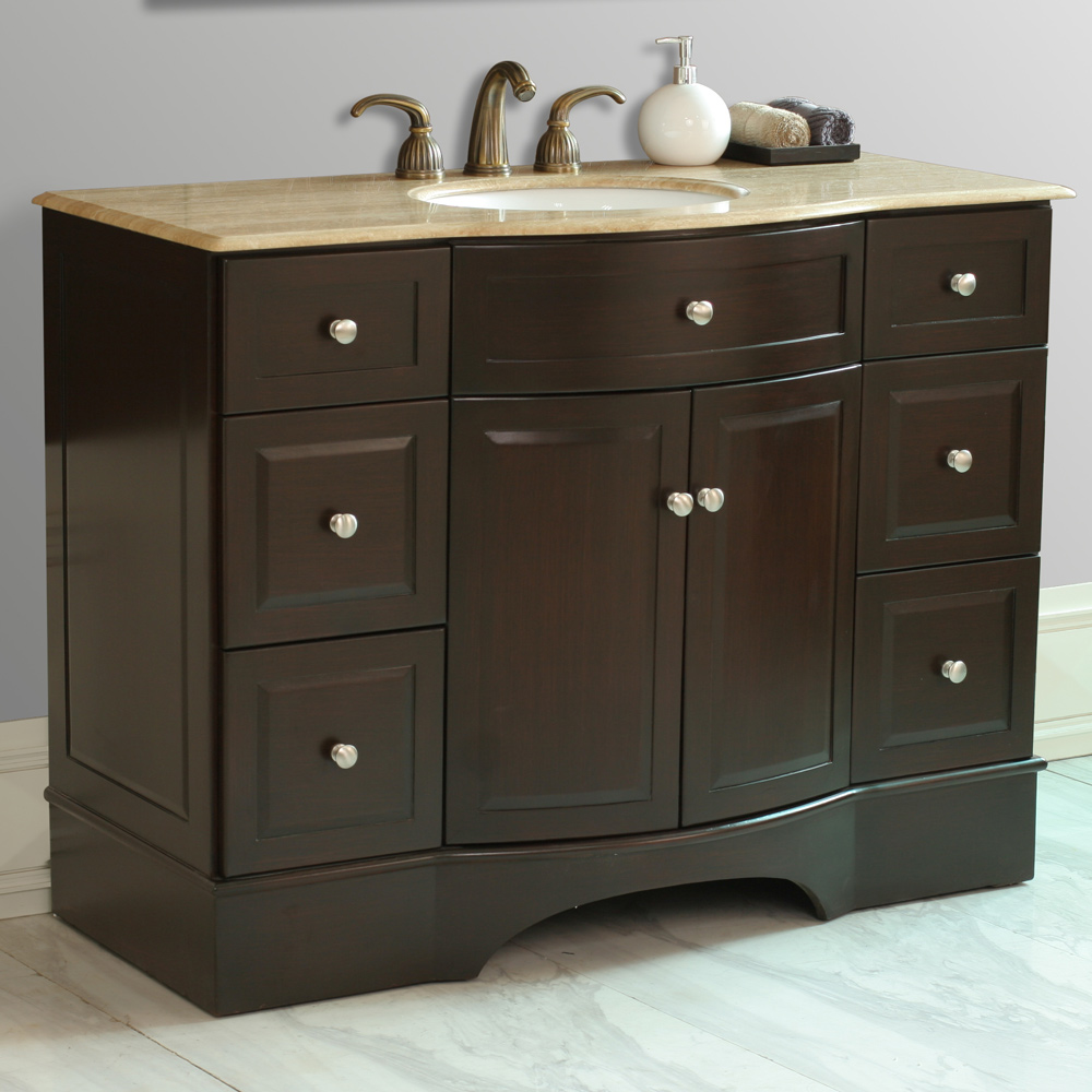 Stufurhome 48 Lotus Single Sink Vanity With Travertine Marble Top Dark Brown Free Shipping