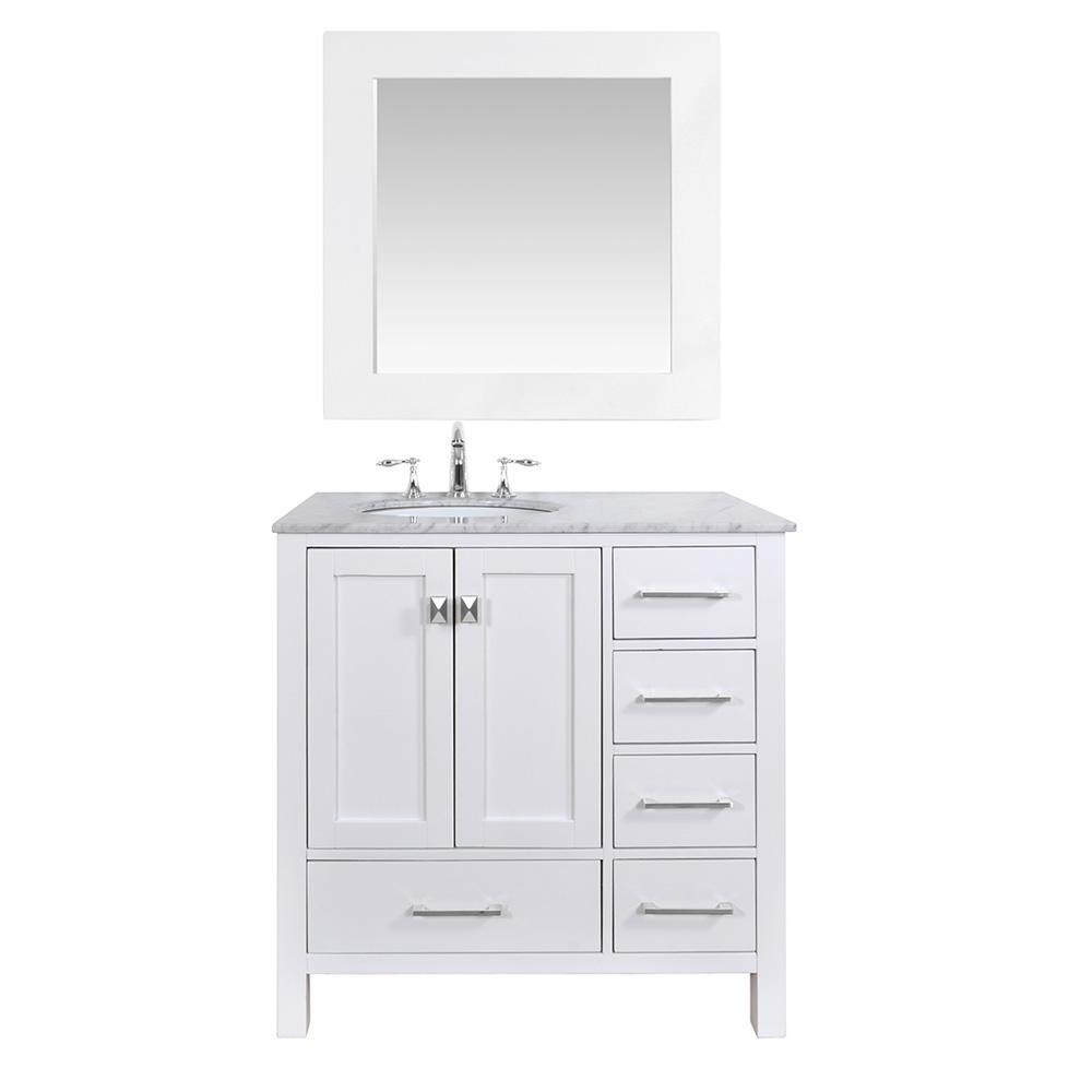 Stufurhome 36 Lissa Single Sink Bathroom Vanity Pure White Free Shipping Modern Bathroom
