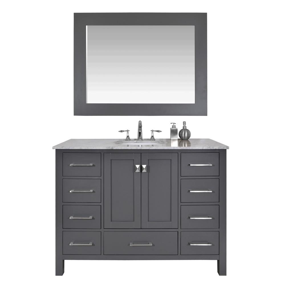 """Stufurhome 48"""" Lissa Single Sink Bathroom Vanity, Gray GM-6412-48-GRAY by Stufurhome"""