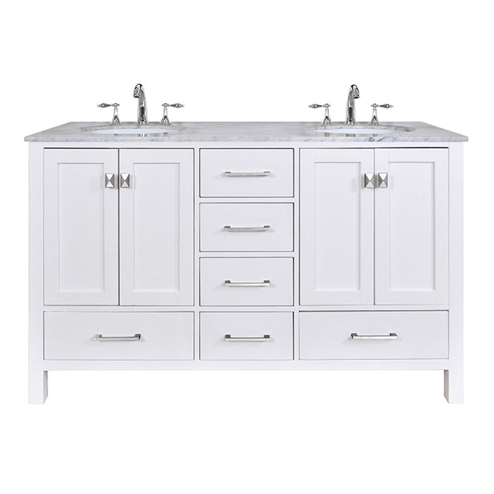 Stufurhome 60 Lissa Double Sink Bathroom Vanity Pure White Free Shipping Modern Bathroom