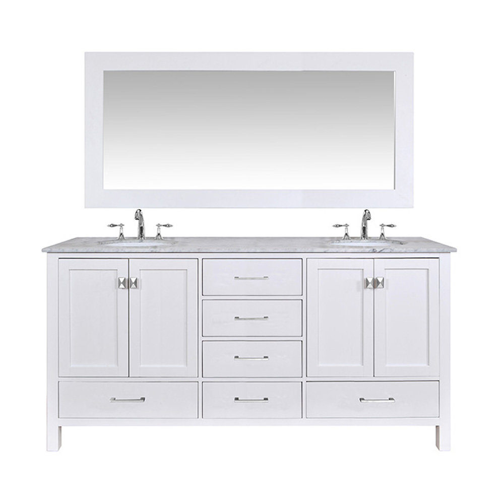 Stufurhome 72 Lissa Double Sink Bathroom Vanity Pure