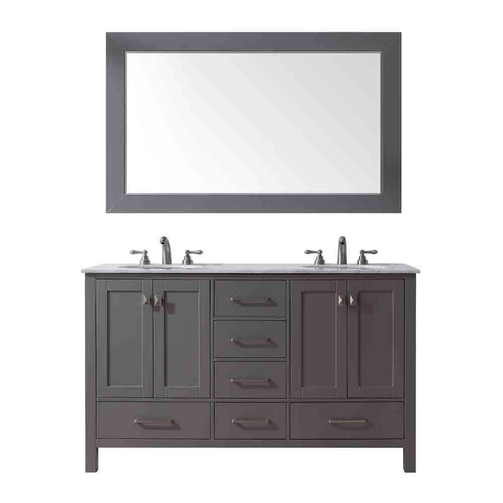 "Stufurhome 60"" Lissa Double Sink Bathroom Vanity, Gray GM-6412-60-GRAY by Stufurhome"