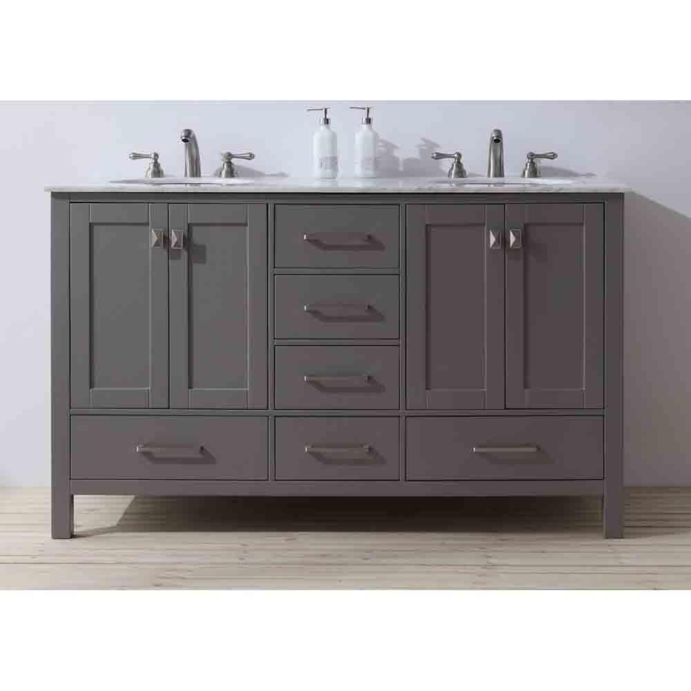 Stufurhome 60 Quot Lissa Double Sink Bathroom Vanity Gray
