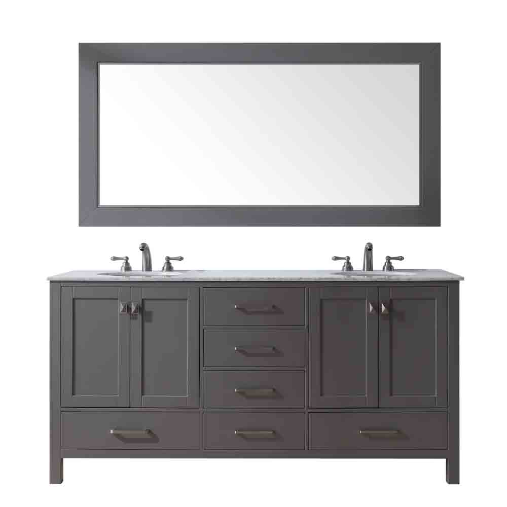 "Stufurhome 72"" Lissa Double Sink Bathroom Vanity, Gray GM-6412-72-GRAY by Stufurhome"