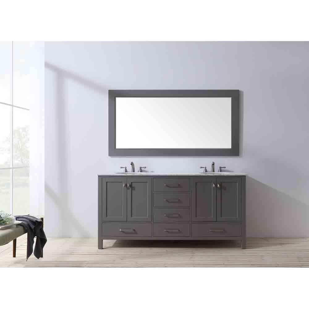 Stufurhome 72 Quot Lissa Double Sink Bathroom Vanity Gray