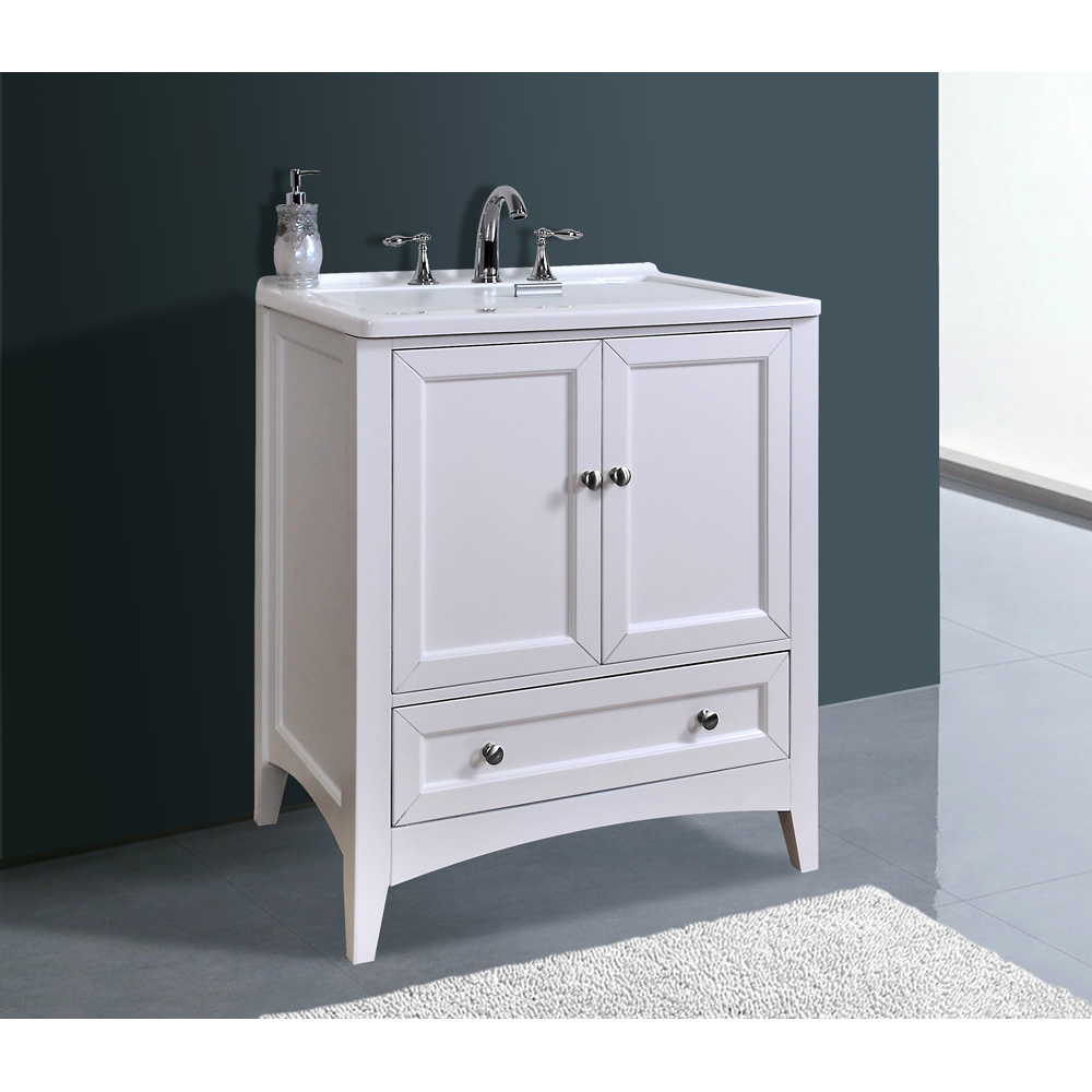 Stufurhome 30 5 Quot Laundry Utility Sink Vanity Pure White Free Shipping Modern Bathroom