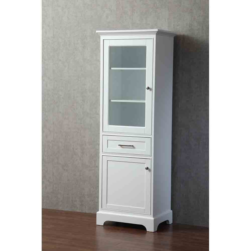 Stufurhome Morgan 24 Inch Linen Cabinet White Free