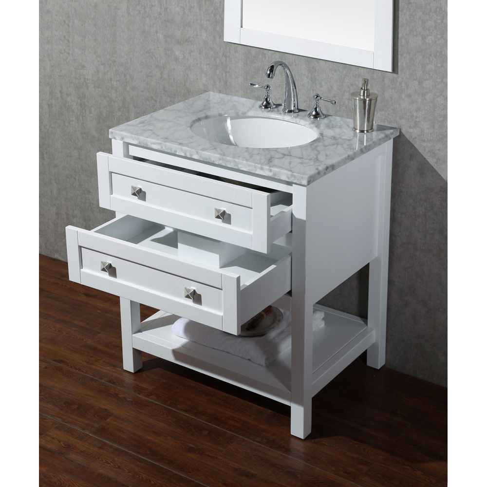 Stufurhome Marla 30 Quot Single Sink Bathroom Vanity With Mirror White Free Shipping Modern