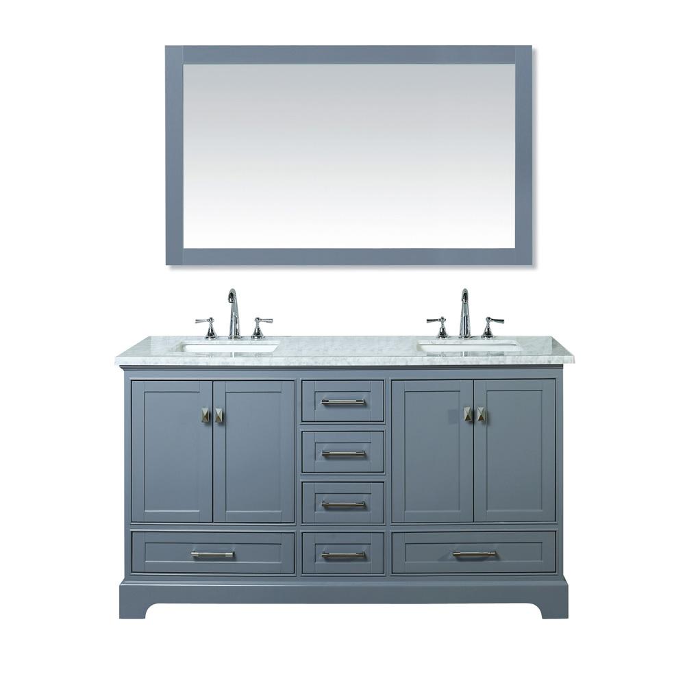 Stufurhome Newport Grey 60 Double Sink Bathroom Vanity With Mirror