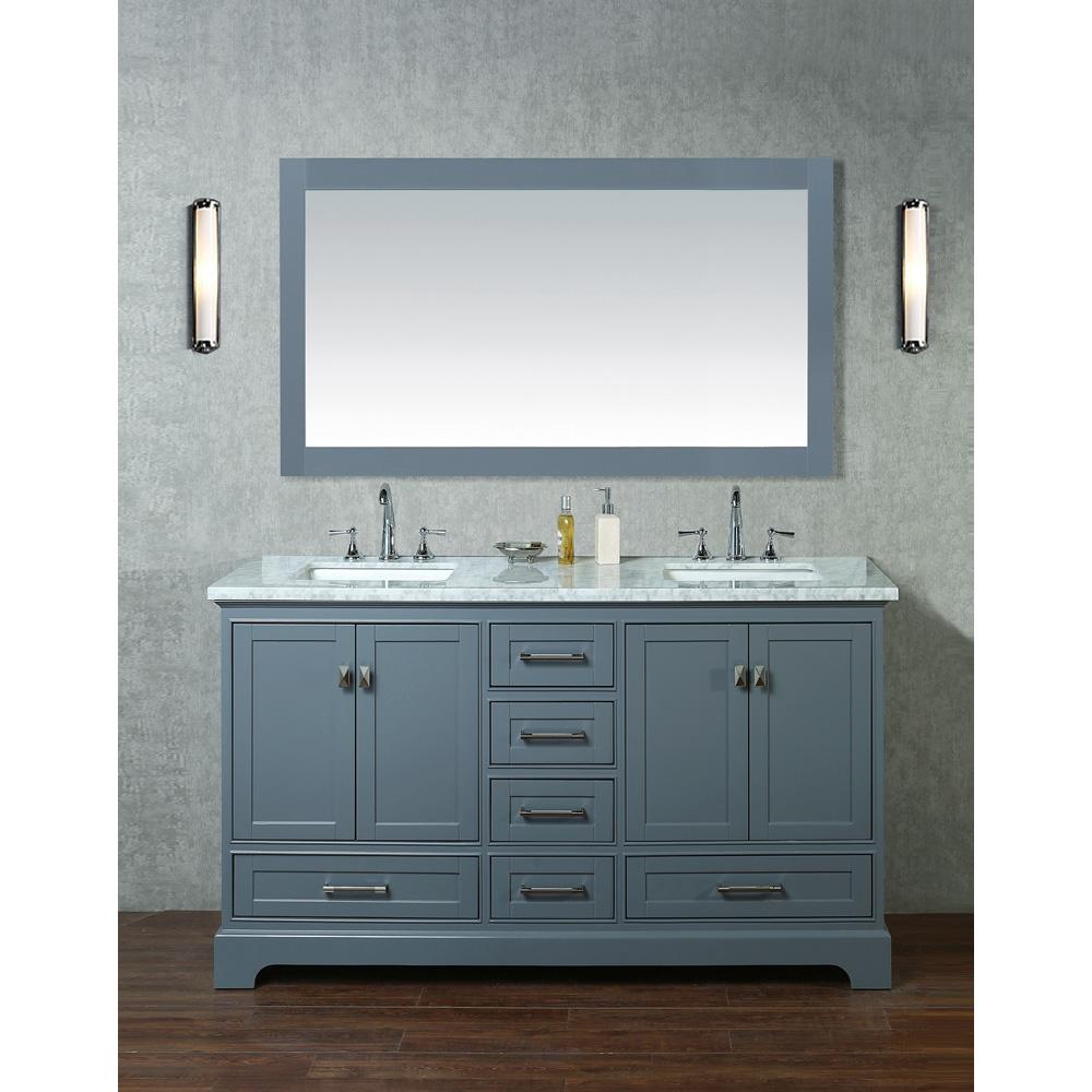 Stufurhome Newport Grey 60 Quot Double Sink Bathroom Vanity