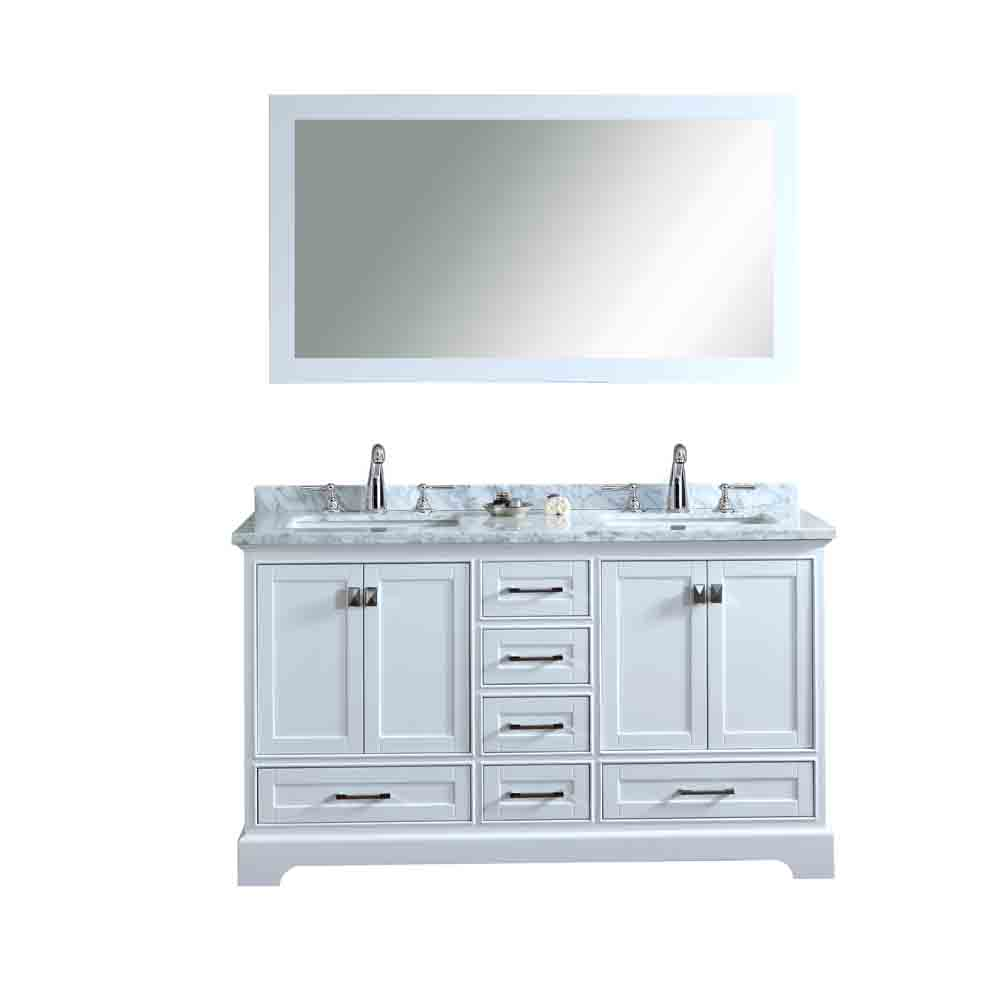 Stufurhome Newport White 60 Double Sink Bathroom Vanity With Mirror White Free Shipping
