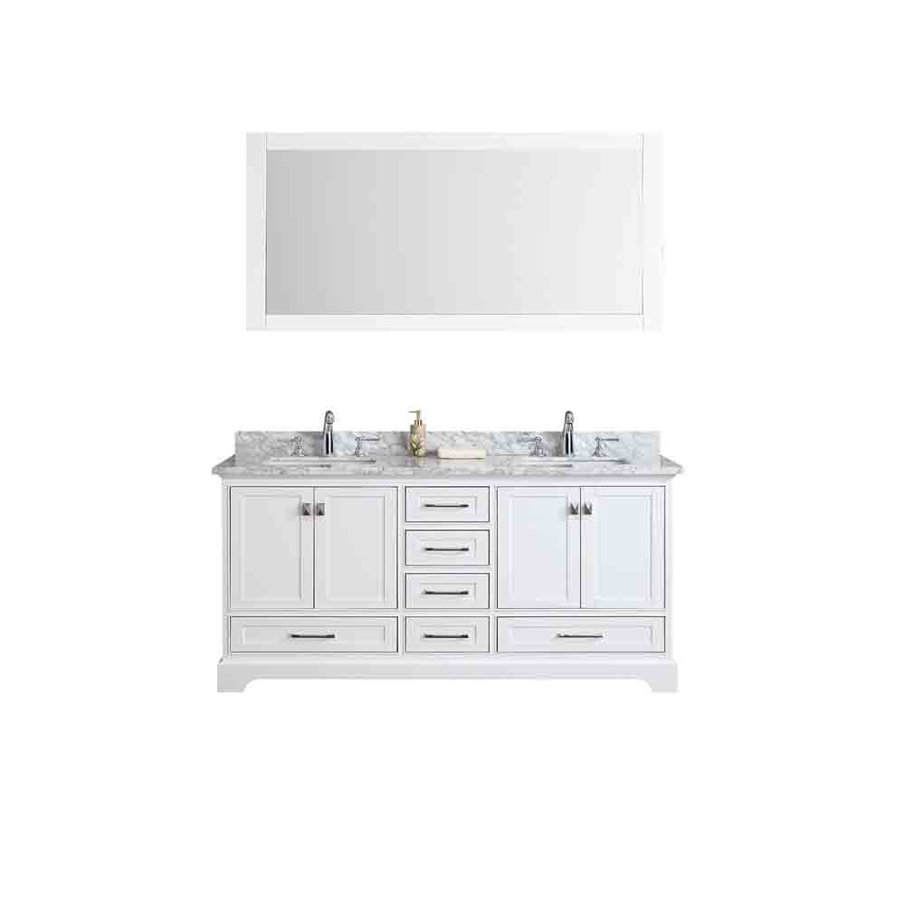 Stufurhome Newport White 72 Double Sink Bathroom Vanity With Mirror White Free Shipping
