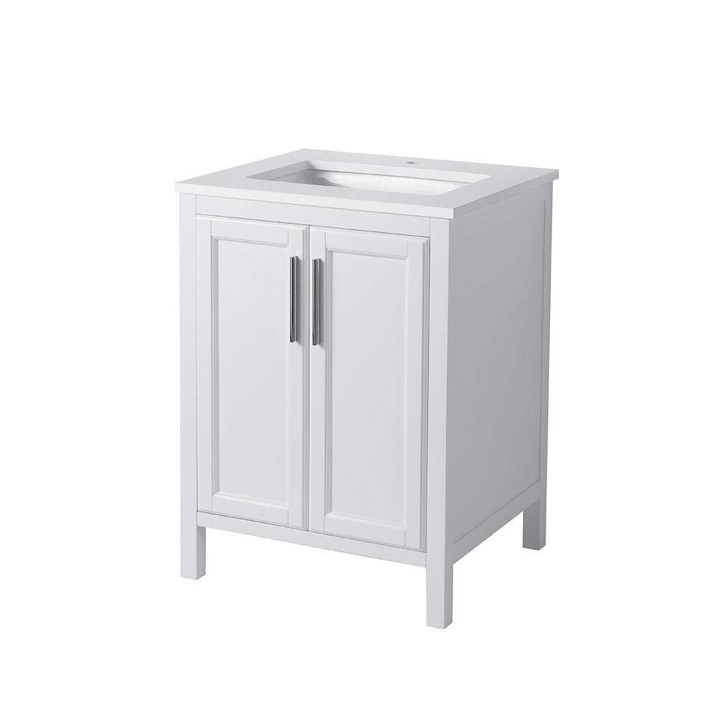 Stufurhome Emily 25 Single Sink Bathroom Vanity With White Quartz Top White Free Shipping