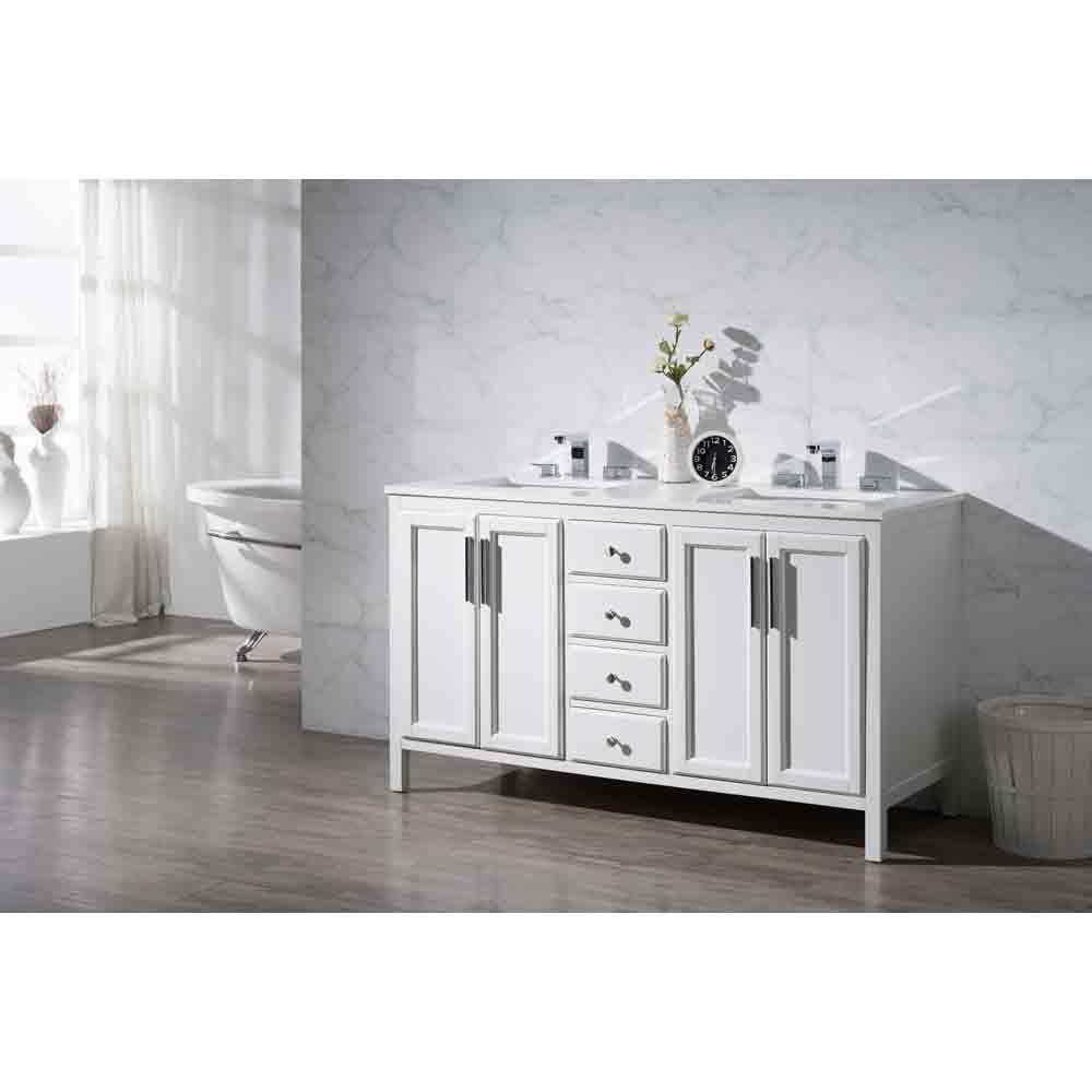 Stufurhome Emily 59 Double Sink Bathroom Vanity With White Quartz Top