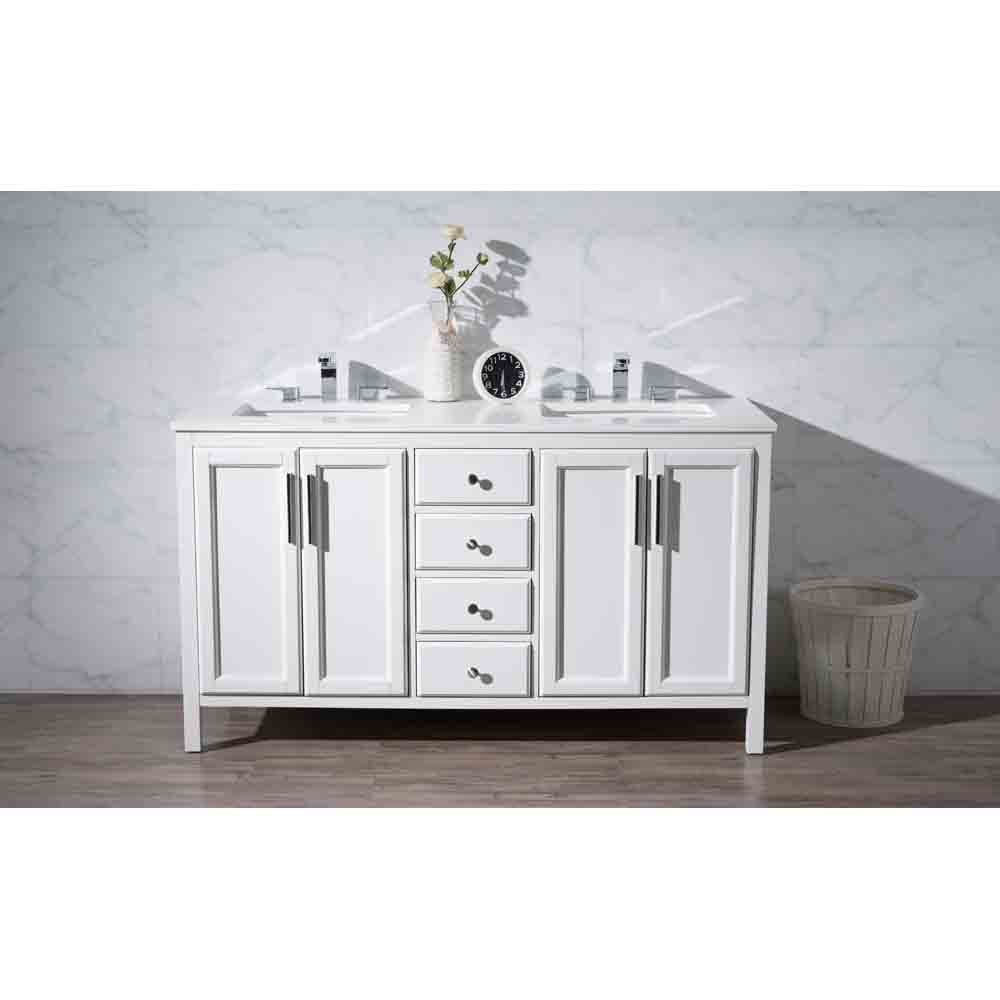 Stufurhome Emily 59 Quot Double Sink Bathroom Vanity With White Quartz Top White Free Shipping