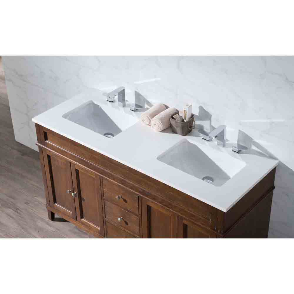 Stufurhome Hamilton 59 Double Sink Bathroom Vanity With White Quartz Top Natural Wood Free