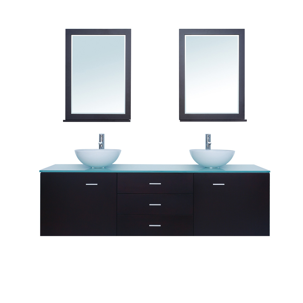 Stufurhome 72 Luna Double Sink Vanity With Glass Top Espresso Free Shipping Modern Bathroom