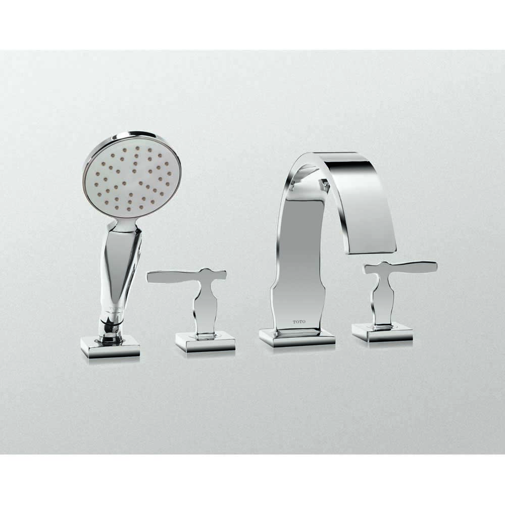 Toto Aimes Deck-Mount Tub Filler Trim with Handshower, Polished Chrome TB626S1.CP by Toto