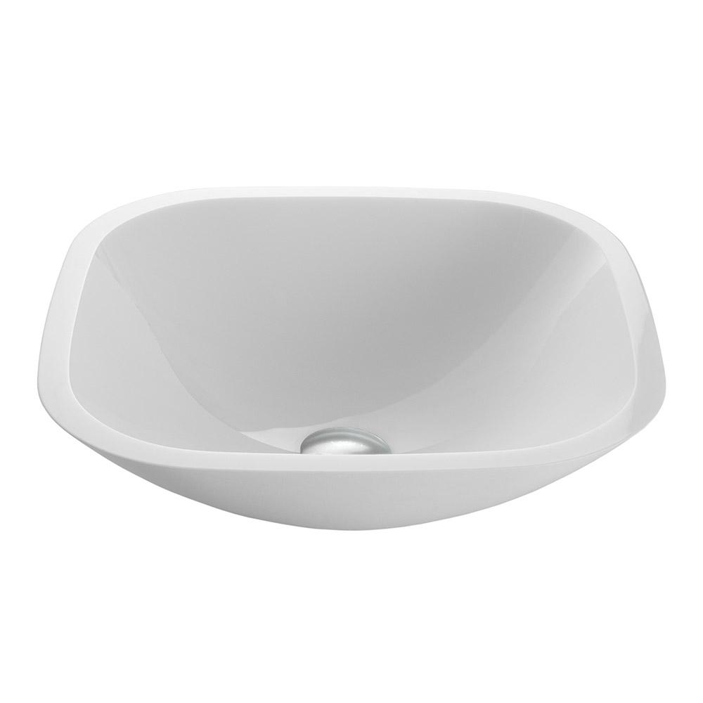 Vigo square white phoenix stone glass vessel sink flat for Flat bathroom sinks