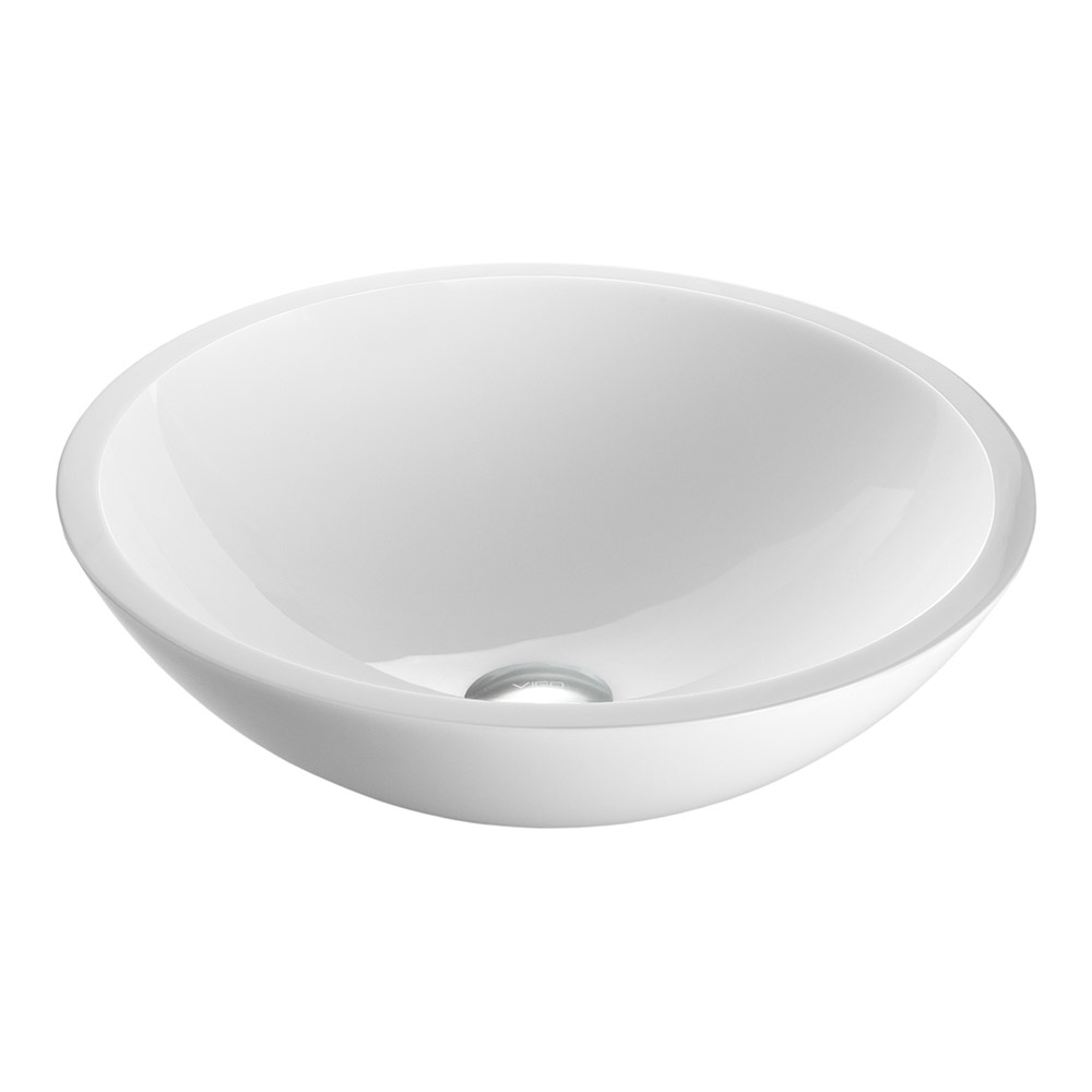 Vigo White Phoenix Stone Glass Vessel Sink, Flat Edge VG07041 by Vigo Industries