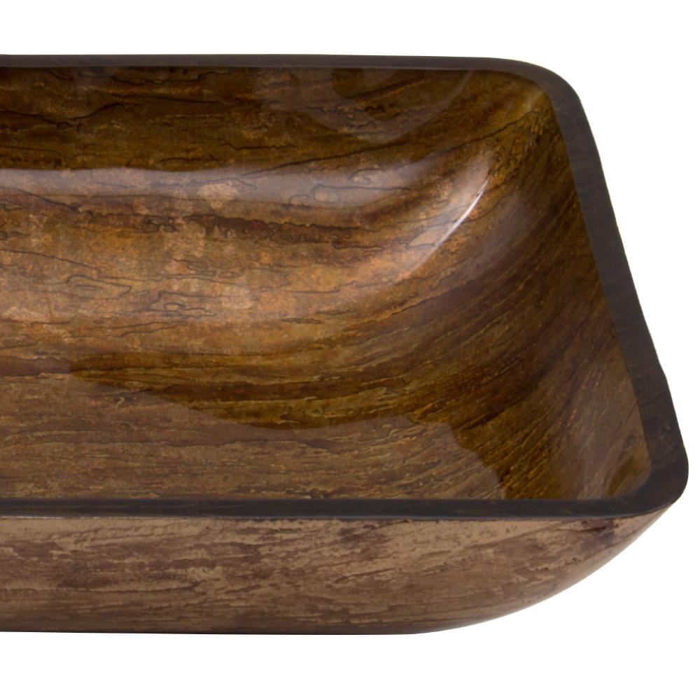 Vigo Rectangular Sunset Glass Vessel Sink Amber Free