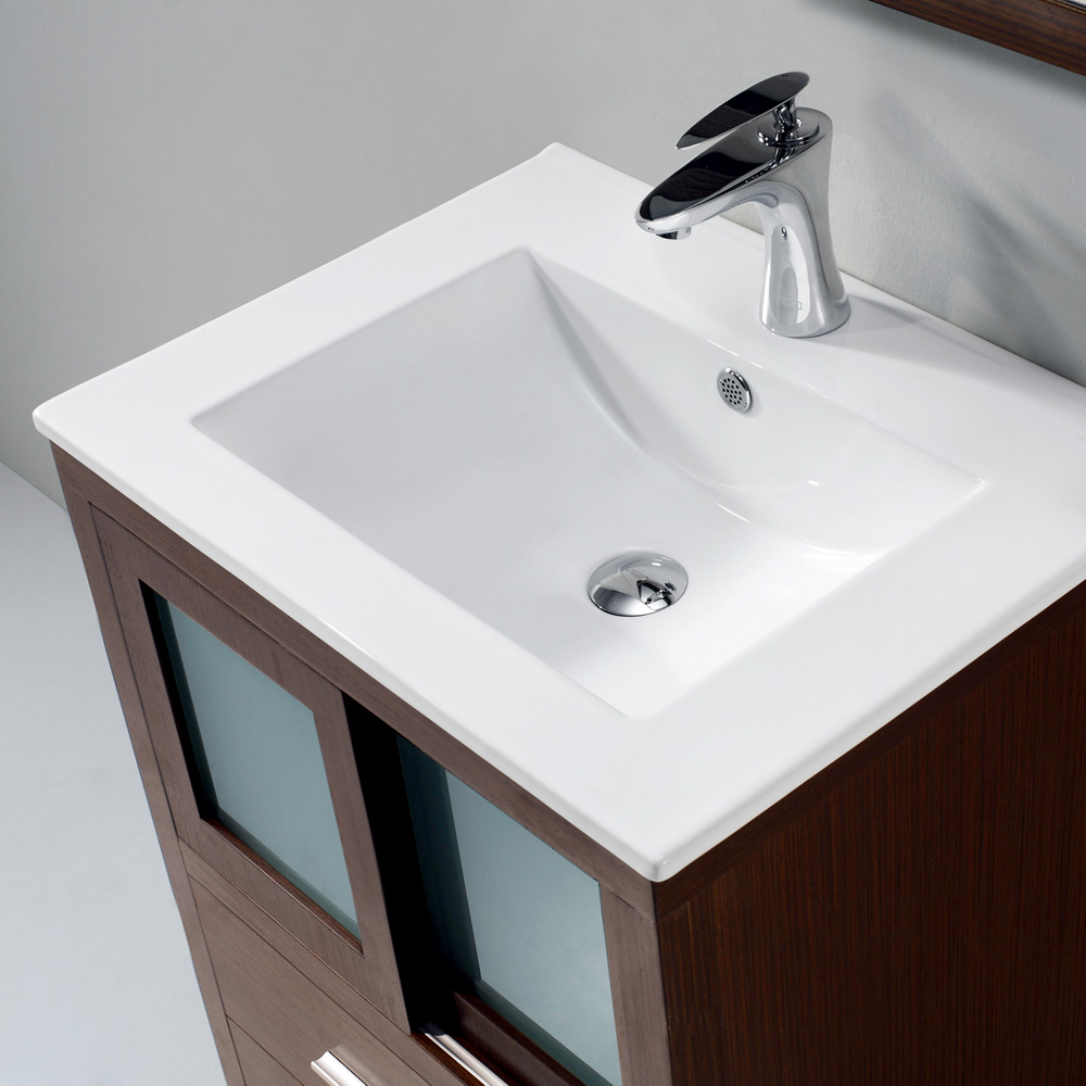 Vigo 24 Alessandro Single Bathroom Vanity With Mirror Wenge