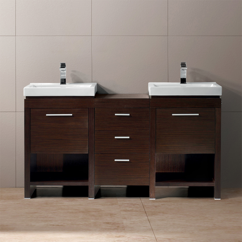 Vigo 59 Adonia Double Bathroom Vanity Wenge Free Shipping Modern Bathroom