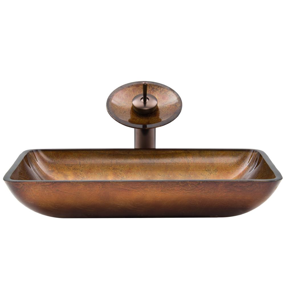 Vigo Rectangular Russet Glass Vessel Sink and Waterfall Faucet Set VGT007-RECTANGLE by Vigo Industries
