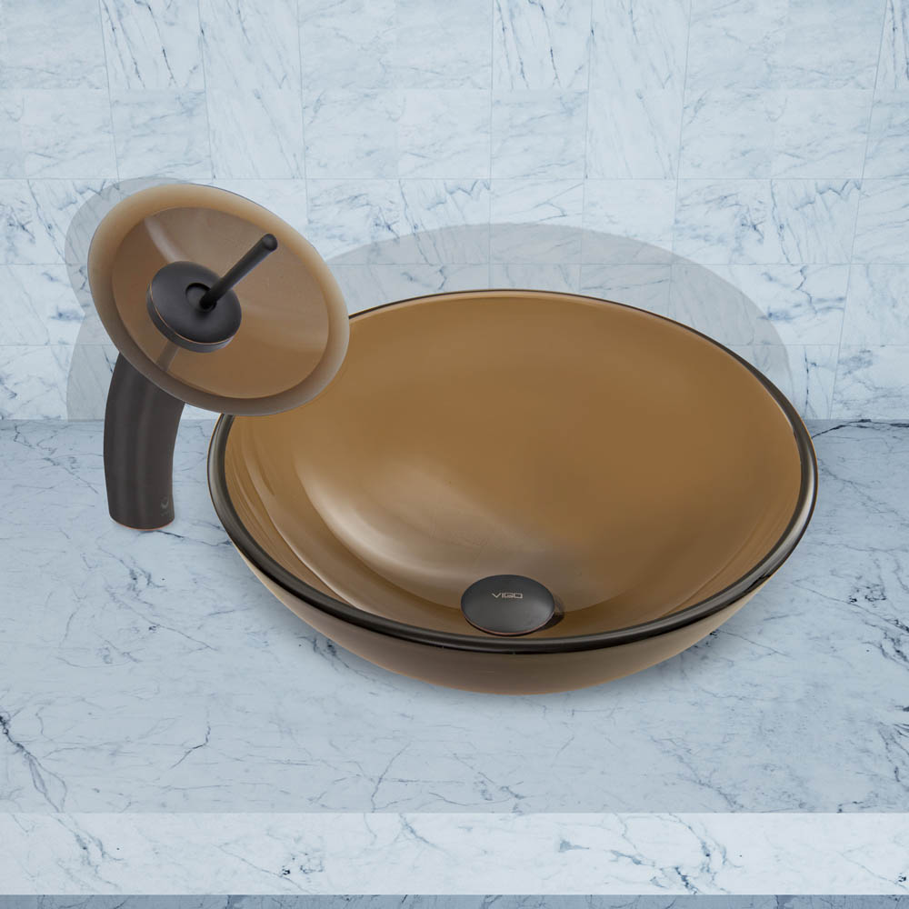 Vigo Sheer Sepia Frost Glass Vessel Sink And Waterfall