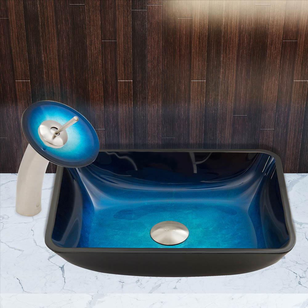 VIGO Rectangular Turquoise Water Glass Vessel Sink and Waterfall ...