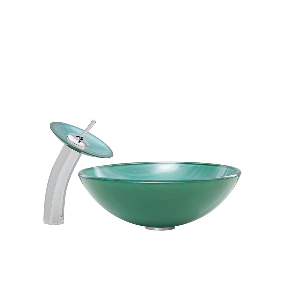 Vigo Whispering Wind Glass Vessel Sink and Waterfall Faucet Set VGT056 by Vigo Industries
