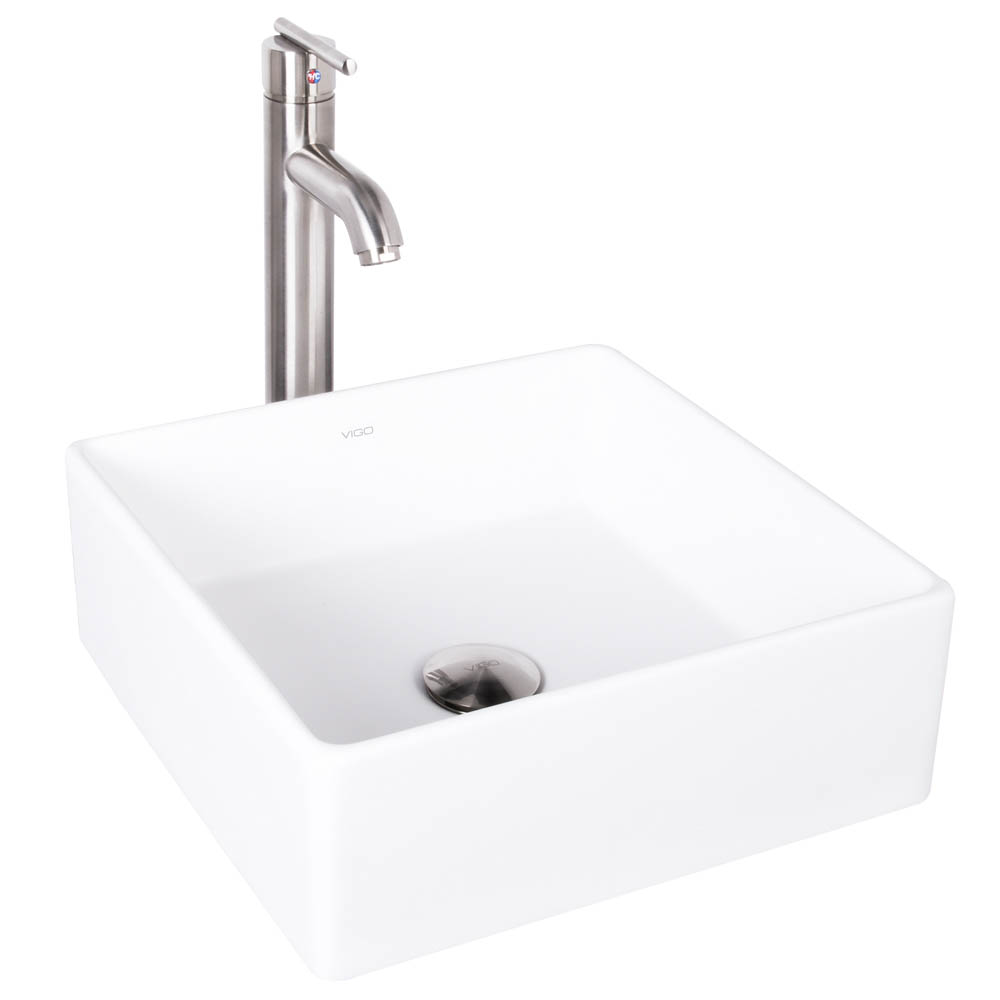 Vigo Bavaro Matte Stone Vessel Sink and Seville Bathroom Vessel Faucet in Brushed Nickel VGT1001 by Vigo Industries