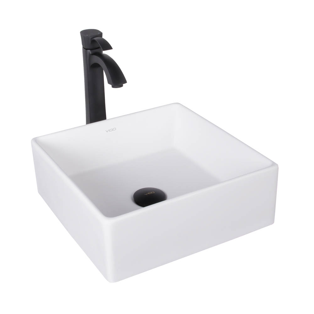 Vigo bavaro matte stone vessel sink and otis bathroom for Black vessel bathroom sink