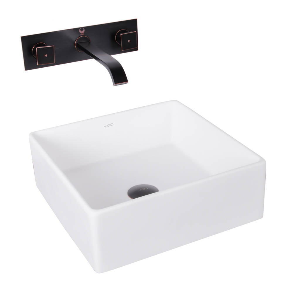 Vigo Bavaro Matte Stone Vessel Sink And Titus Antique