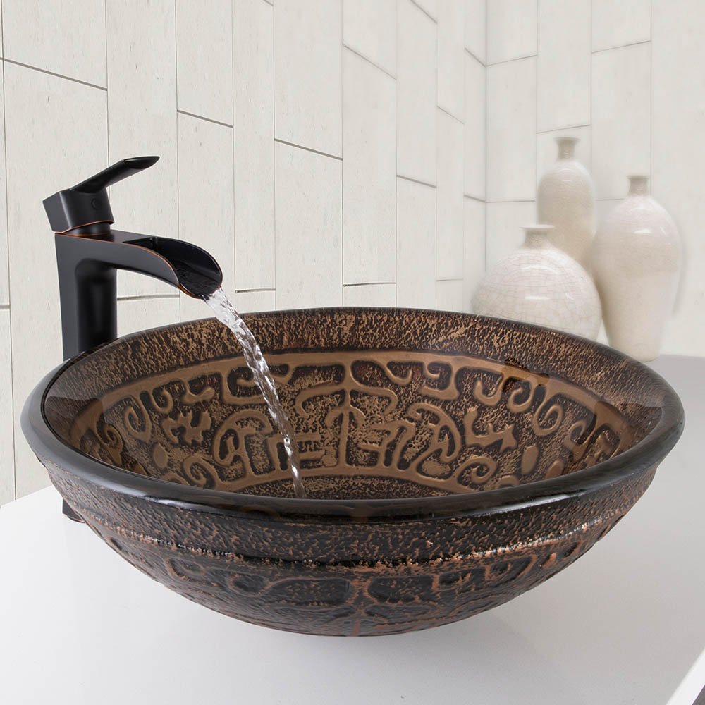 Bronze Bathroom Sinks: VIGO Golden Greek Glass Vessel Sink And Niko Bathroom