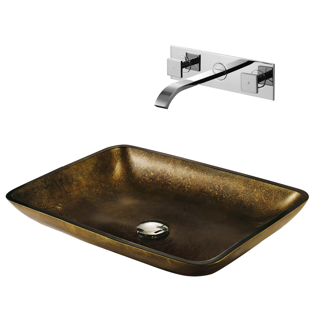 Vigo Rectangular Copper Glass Vessel Sink And Wall Mount Faucet Set Free Shipping Modern