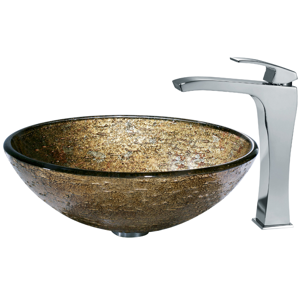 VIGO Textured Copper Glass Vessel Sink and Faucet Set in Chrome ...