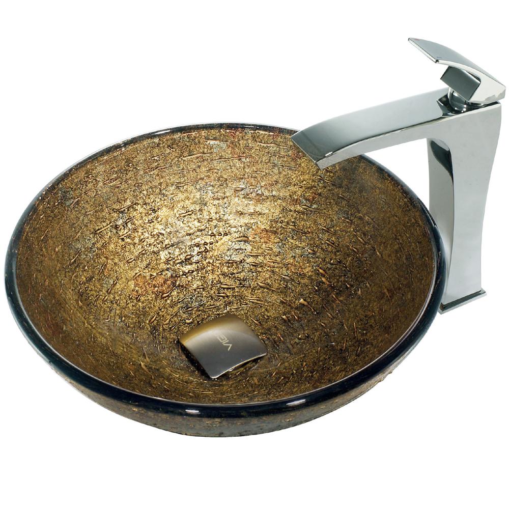 Vigo Textured Copper Glass Vessel Sink and Faucet Set in Chrome VGT139 by Vigo Industries