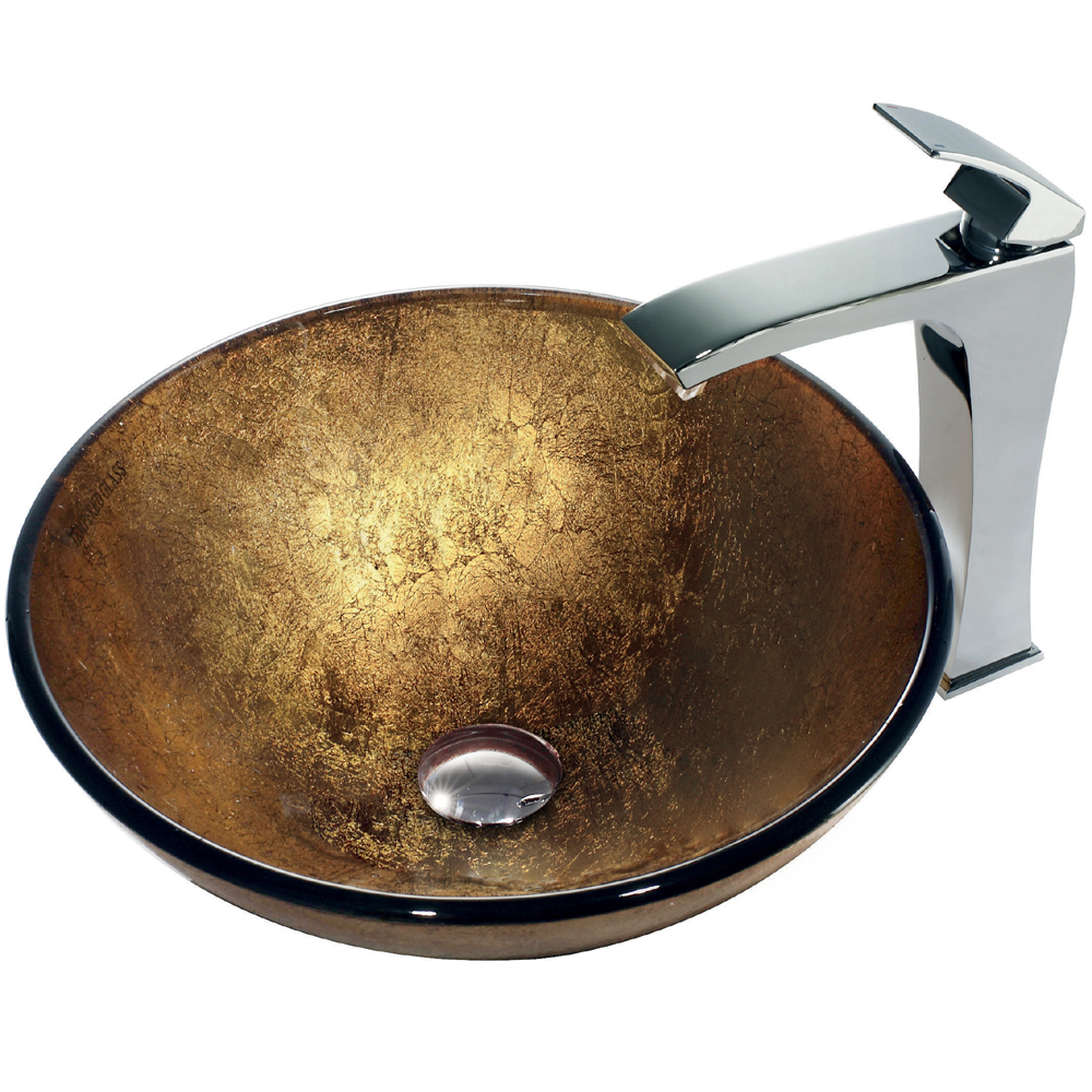 Vigo Liquid Gold Glass Vessel Sink and Faucet Set in Chrome VGT140 by Vigo Industries