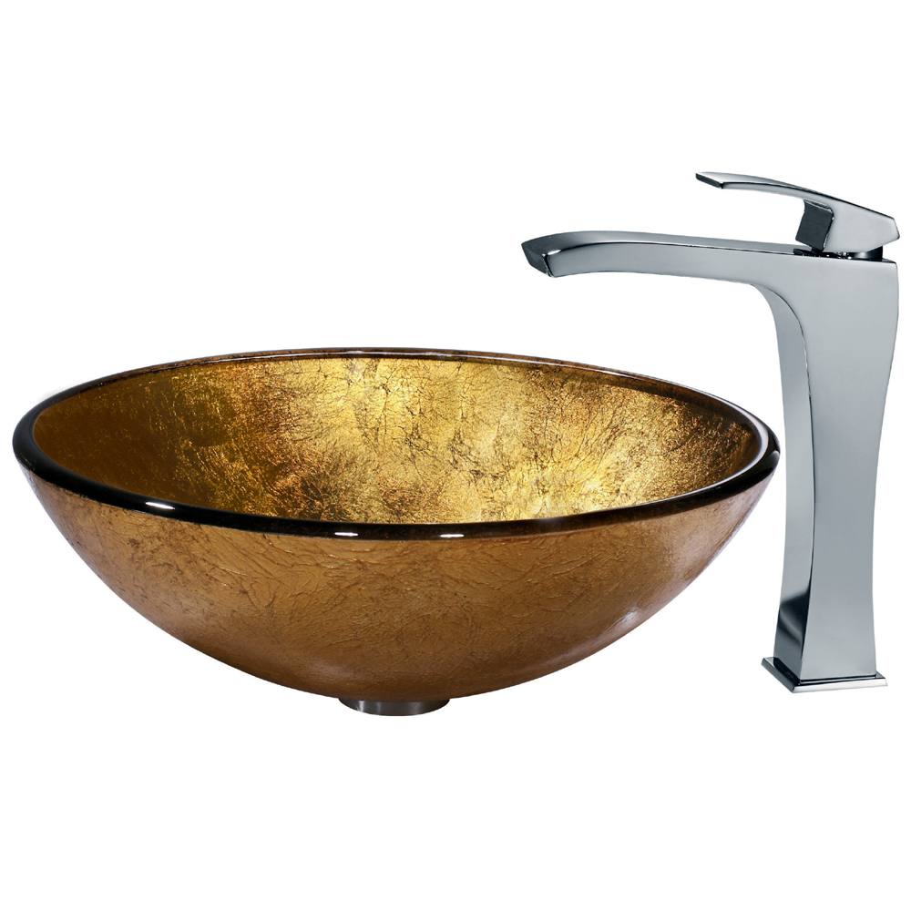 Vigo Liquid Gold Glass Vessel Sink And Faucet Set In