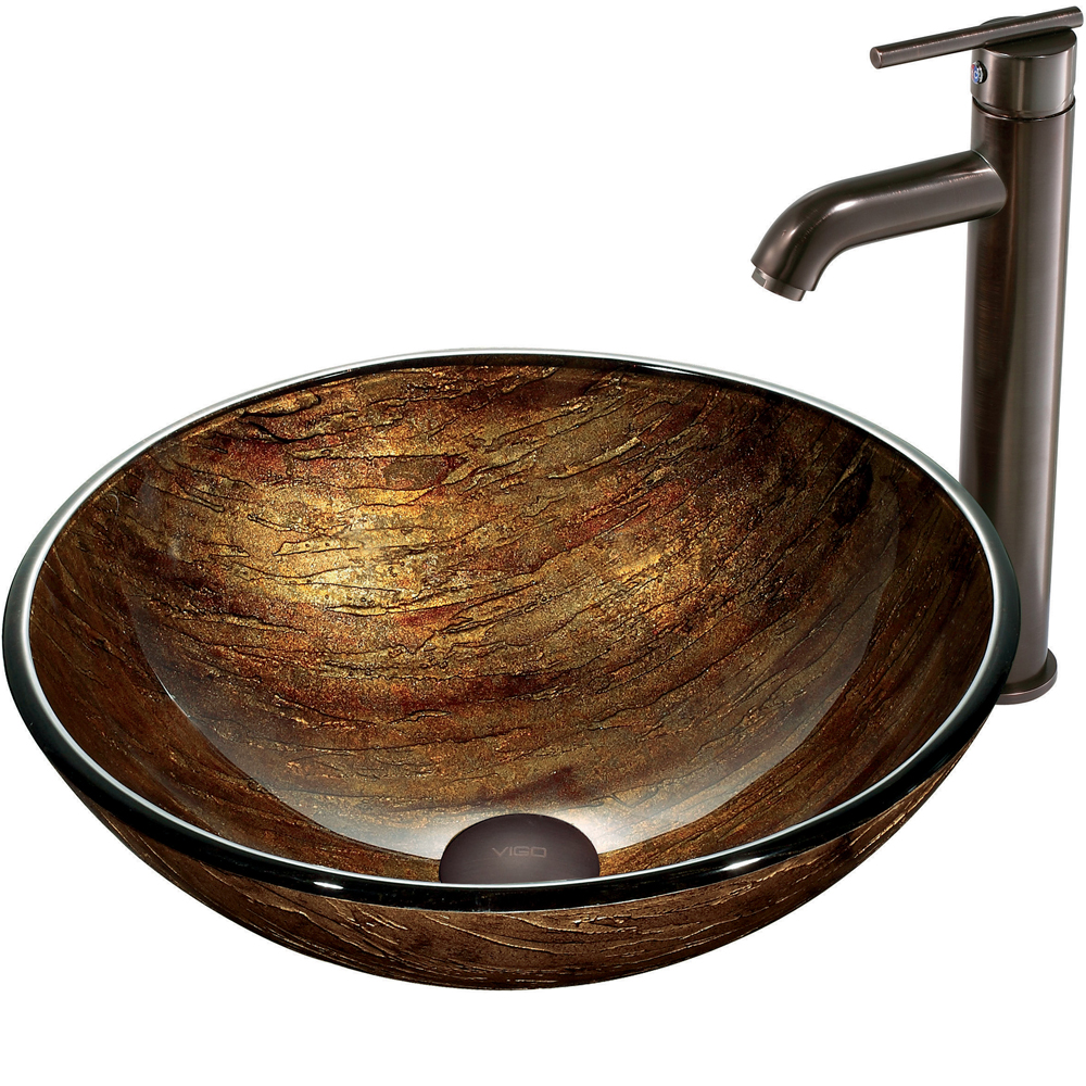 Vigo Amber Sunset Glass Vessel Sink And Faucet Set In Oil