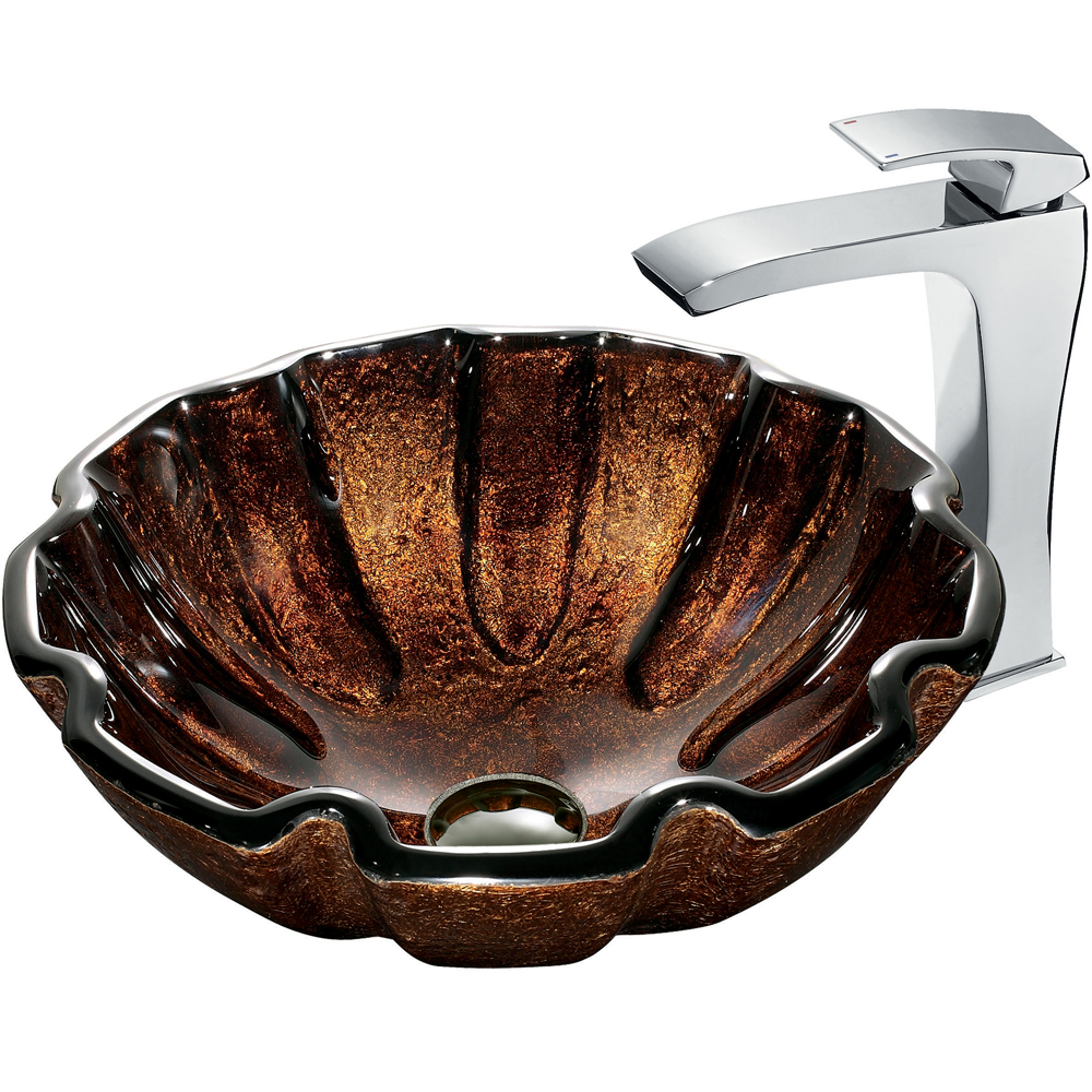 Vigo Walnut Shell Glass Vessel Sink and Faucet Set in Chrome VGT181 by Vigo Industries