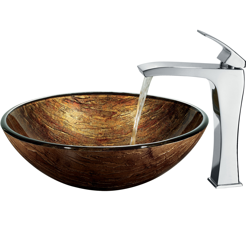 Vigo Amber Sunset Glass Vessel Sink And Faucet Set In