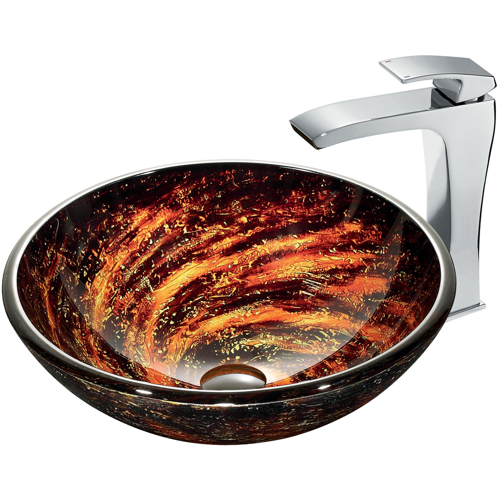 Vigo Northern Lights Glass Vessel Sink and Faucet Set in Chrome VGT183 by Vigo Industries