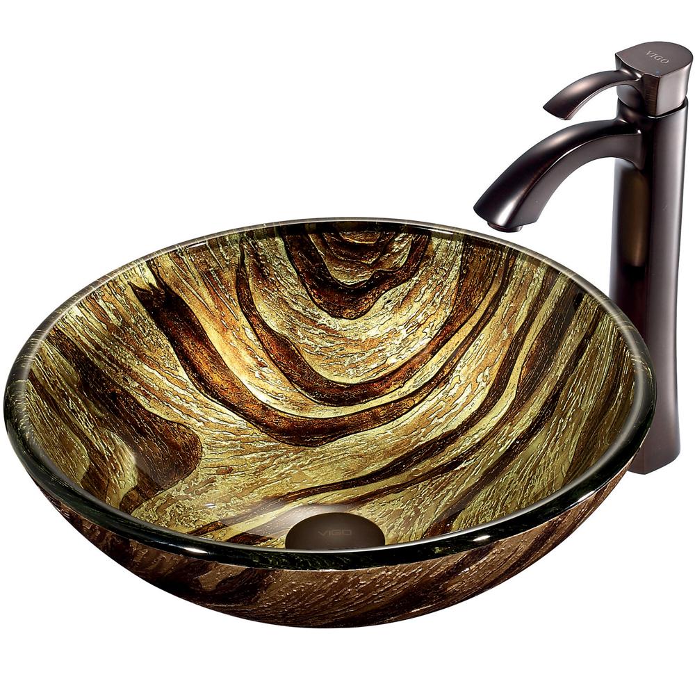 Vigo Zebra Glass Vessel Sink and Faucet Set in Oil Rubbed Bronze VGT193 by Vigo Industries