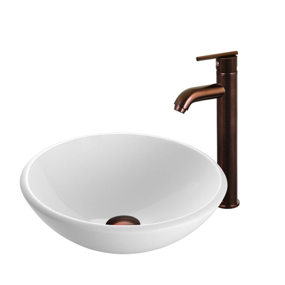 Vigo White Phoenix Stone Vessel Sink and Seville Faucet Set VGT202- by Vigo Industries