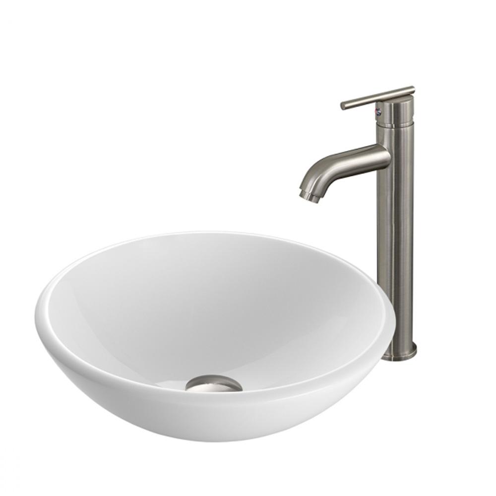 Vigo White Phoenix Stone Glass Vessel Sink with Brushed Nickel Faucet VGT203 by Vigo Industries