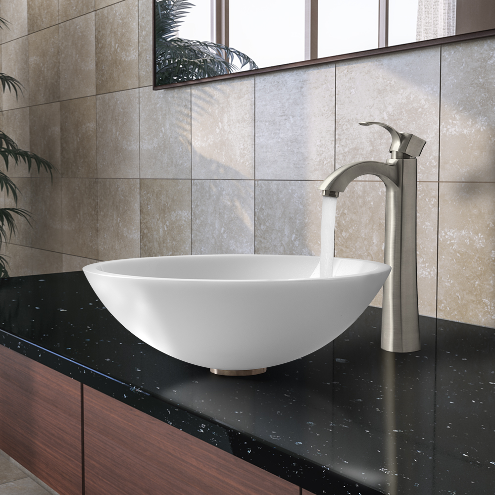 Vigo Flat Edged White Phoenix Stone Glass Vessel Sink With